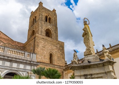 The courtyard and bell tower of Monreale cathedral of Assumption of the Virgin Mary, Sicily