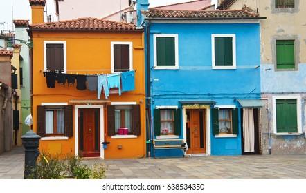 Courtyard between houses on the island of Burano near Venice