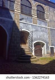 In the courtyard of Buchlov Castle.
