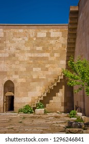 Courtyard of the caravanserai Sultanhani in bright sunlight