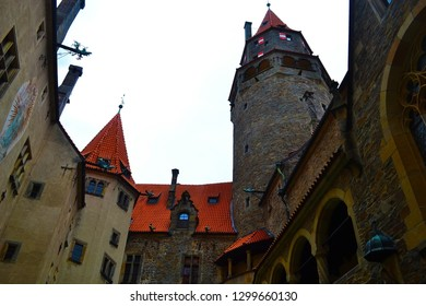 Courtyard in castle Bouzov in Czech Republic