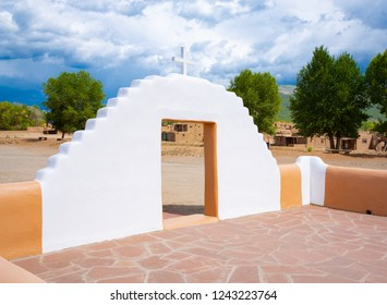 Courtyard of the Catholic church in Taos Pueblo National Historic Landmark, New Mexico, Unesco World Heritage, USA