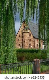The courtyard of church St. Elizabeth in Marburg, Germany