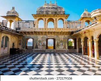 Courtyard at City Palace in Udaipur, Rajasthan, India