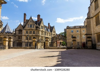 In the courtyard of Clarendon Building in Oxford in a beautiful summer day with Hertford Bridge on Catte Street on background , Oxfordshire, England, United Kingdom