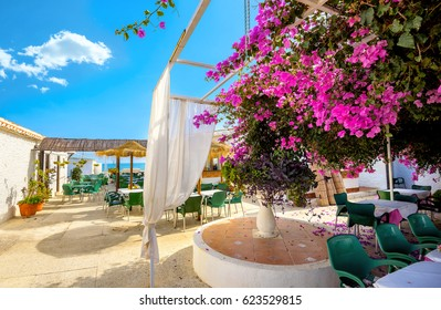 Courtyard of coastal cafe in Torremolinos. Malaga province, Costa del Sol. Andalusia, Spain