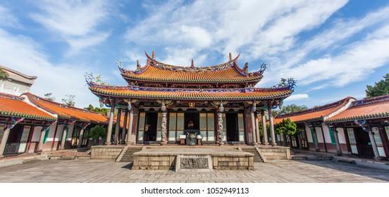 Courtyard of the Confucius Temple in Taipei, Taiwan (Asia)