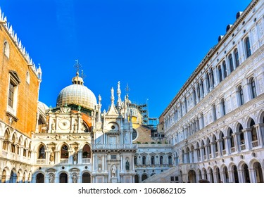 Courtyard Doge's Palace Saint Mark's Basilica Statues Venice Italy.  Church created 1063 AD.  Doge's Palace from 900 to 1700.