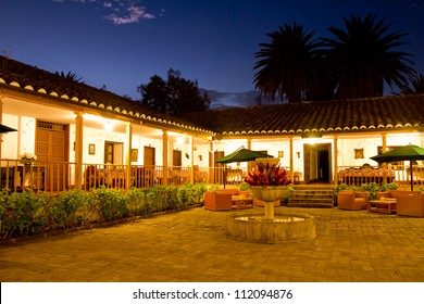 Courtyard with Fountain, Spanish Hacienda, long exposure night