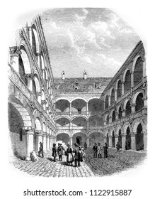 Courtyard of the Hotel des Monnaies in Munich, vintage engraved illustration. Magasin Pittoresque 1855.
