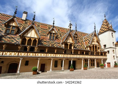 Courtyard of Hotel Dieu, the ancient hospital in Beaune