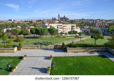 Courtyard in the hotel and Salamanca Cathedral in the morning, Salamanca, Spain