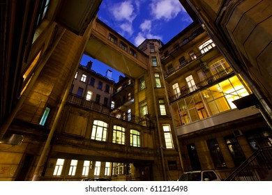 Courtyard of a house at night. Saint-Petersburg. Russia.