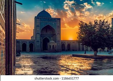 Courtyard of Kalyan Mosque at sunset, Bukhara, Uzbekistan. UNESCO World Heritage