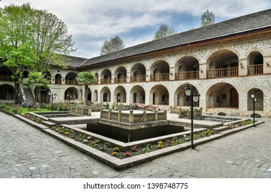 Courtyard of Karavansaray building in Sheki, Azerbaijan. The building dates from the 18th century.