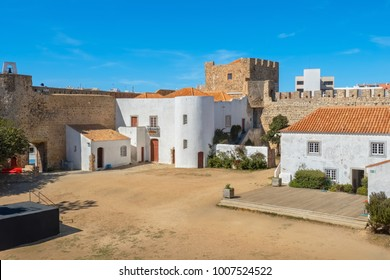 Courtyard of medieval fortress in Sines. Alentejo, Portugal