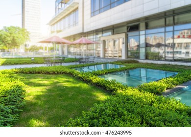 courtyard of modern hotel,shanghai,china.