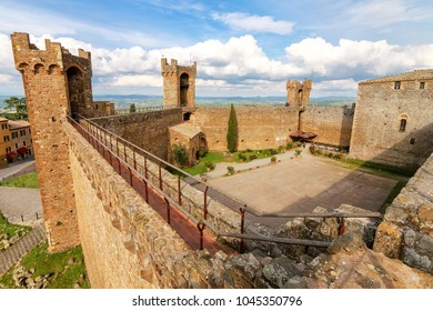 Courtyard of Montalcino Fortress in Tuscany, Italy. The fortress was built in 1361 atop the highest point of the town.