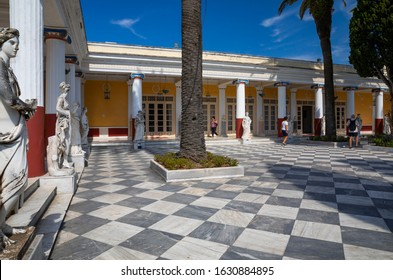 Courtyard of the Muses, Achilleion Palace, Corfu, Greece. 26th June 2019