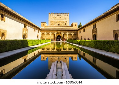Courtyard of the Myrtles (Patio de los Arrayanes) in La Alhambra, Granada, Spain.