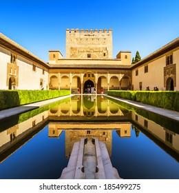 Courtyard of the Myrtles (Patio de los Arrayanes) in La Alhambra, Granada, Spain.