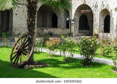 Courtyard of the old Caravanserai in Sheki, Azerbaijan