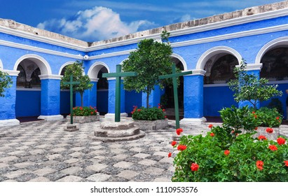 courtyard of old convent, Peru, Arequipa