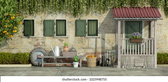 Courtyard of an old house with gardening tools - 3d rendering