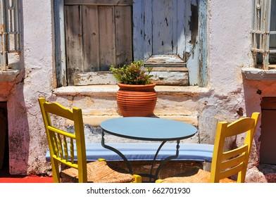 Courtyard. Old traditional neighborhood in Greece.