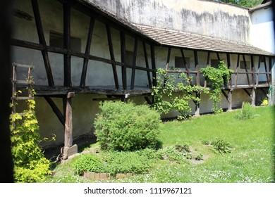 Courtyard on Buchlov castle, Czech republic