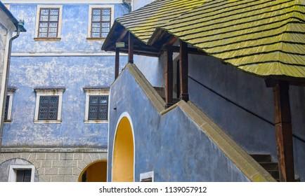 Courtyard on Buchlov castle. Region South Moravia,Czech Republic.