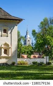 Courtyard in one of monasteries of ancient city of Suzdal. Russia