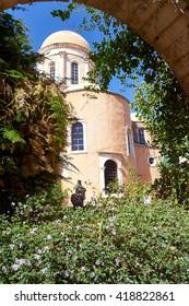 Courtyard Orthodox monastery on the Island of Crete