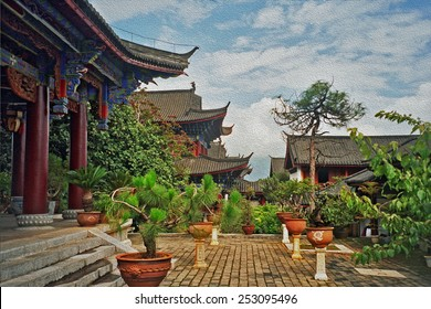 courtyard of palace in lijiang, china with beautiful artificially shaped plants and trees, stylized and filtered to look like an oil painting