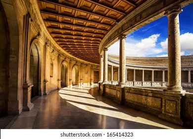 Courtyard of the Palacio de Carlos V in La Alhambra, Granada, Spain.