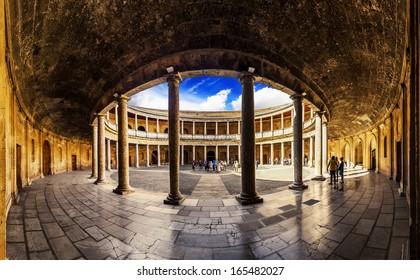 Courtyard in Palacio de Carlos V in La Alhambra, Granada, Spain.