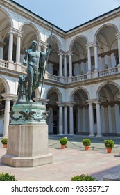 Courtyard of Pinacoteca di Brera, with the Naked Napolean Statue Milan, Italy