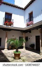 Courtyard with pretty balconies in the Mondragon Palace garden, Ronda, Malaga Province, Andalucia, Spain, Europe.