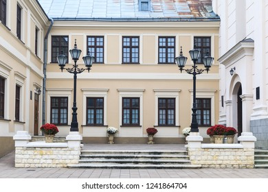 The courtyard of Saint Lawrence's Church in Zhovkva town, Ukraine