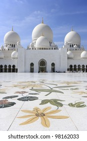 The courtyard of Sheikh Zayed Grand Mosque in Abu Dhabi.