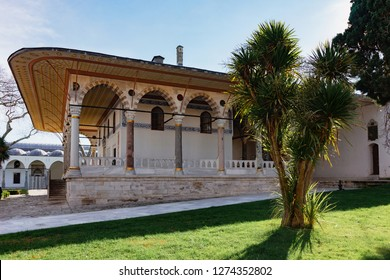 The courtyard of Topkapi Palace - Ancient Residence of Turkish Sultans. Beautiful decoration inside Topkapi palace.Audience Hall in Topkapi Palace
