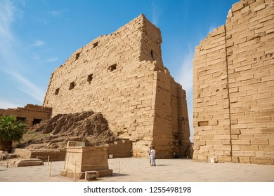 Courtyard and tower gate at Temple of Karnak. Thebes, Luxor, Egypt, North Africa