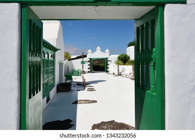 The courtyard in a traditional spanish house in Tahicheon. The Lanzarote island, Canary islands, Spain