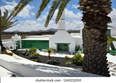 The courtyard in a traditional spanish house in Tahicheon. View from above. The Lanzarote island, Canary islands, Spain