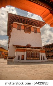 Courtyard and utse of the Rinchen Pung Dzong in Paro, Bhutan