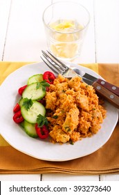 Couscous and chicken breast casserole and salad