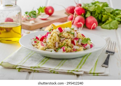 Couscous with radishes and herbs, topped herbs and olive oil, simple but delicious vegetarian food