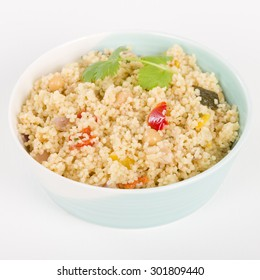 Couscous - Roasted vegetable couscous in a a bowl.