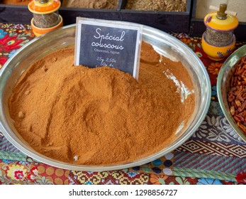 Couscous spice at the farmerst market in Arles, France