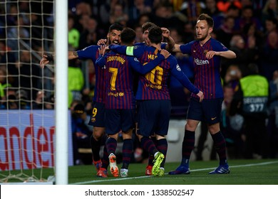 Coutinho Lionel Messi,Luis Suarez and Ivan Rakitic during the Champions League Round of 16 Second Leg match between FC Barcelona and Olympique Lyonnais at Nou Camp on March 13, 2019 in Barcelona Spain